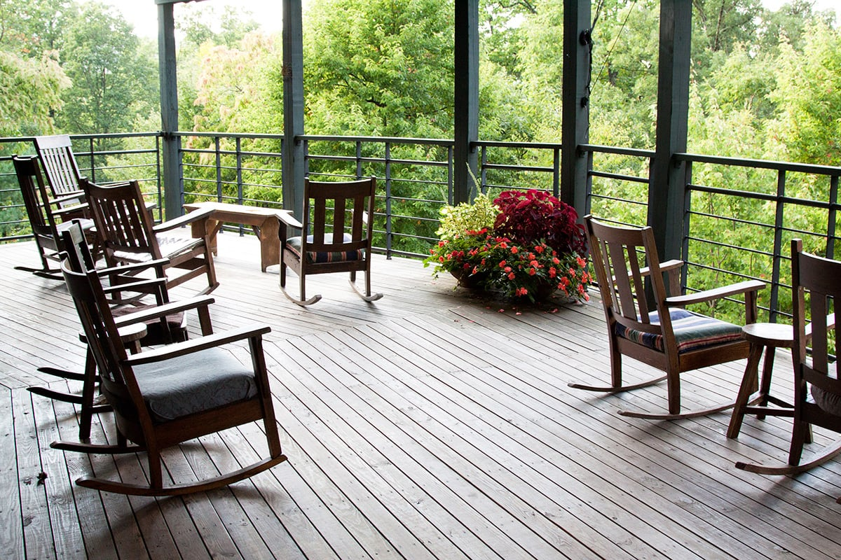 Rocking chairs on large covered porch