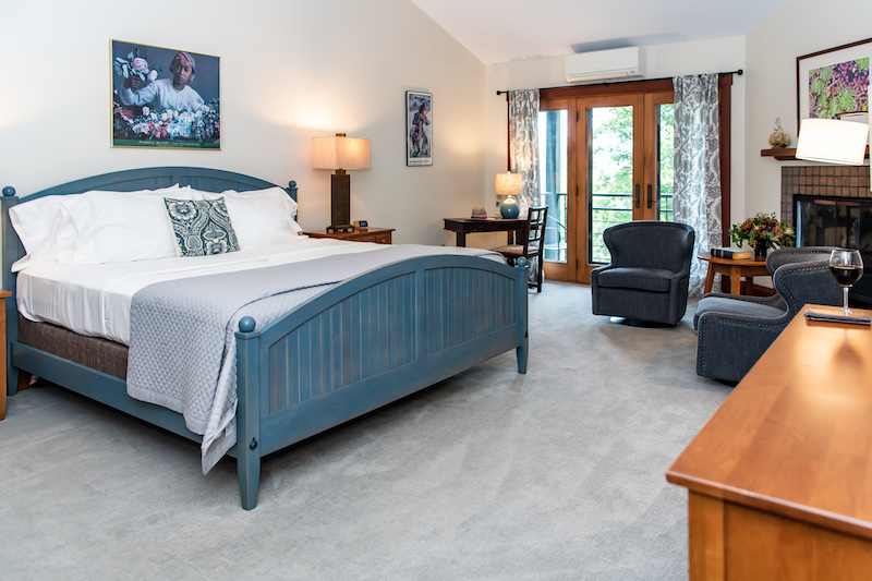Blue panel bed