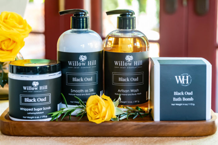 Willow hill Bath products on a wood tray